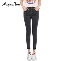 2017 Spring Women Ankle Length Cuffs Black Jeans Fashion Students Stretch Skinny Female Slim Pencil Pants