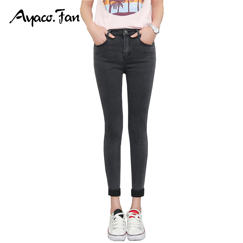2019 Spring Autumn Women Ankle-Length Cuffs Black   Jeans   Students Stretch Skinny Female Slim Pencil Pants Denim Ladies Trousers