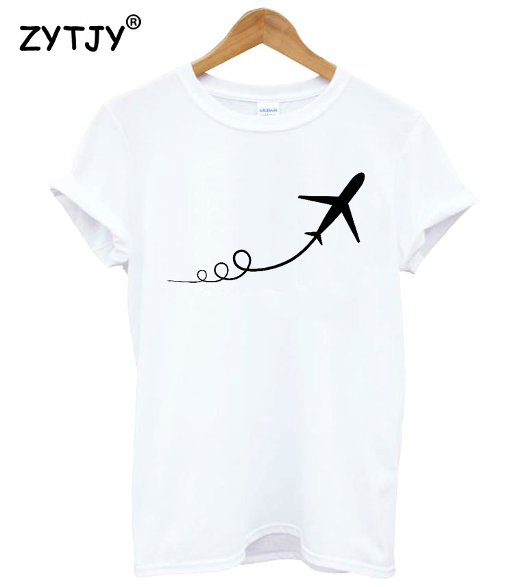 Airplane taking off print women tshirt cotton casual funny for T shirt printing one off