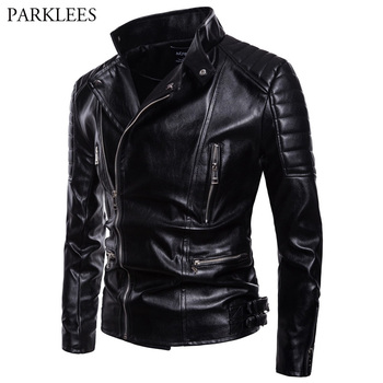 Oblique Zipper PU Jacket 2018 Autumn New Motorcycle Biker Faux Leather Jackets Mens Casual Black Jackets Coats Chaquetas Hombre