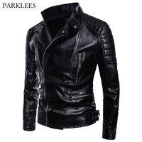 Oblique Zipper PU Jacket 2018 Autumn New Motorcycle Biker Faux Leather Jackets Mens Casual Black Jackets Coats Chaquetas Hombre