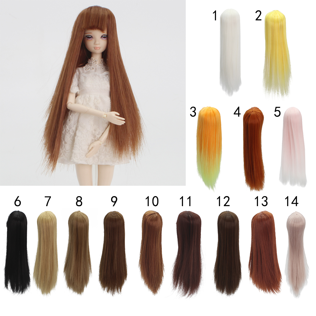 20cm High-temperature Wire Long Straight Wig for Barbie Doll Kurhn Doll DIY Making & Repair short fluffy high temperature fiber straight wig