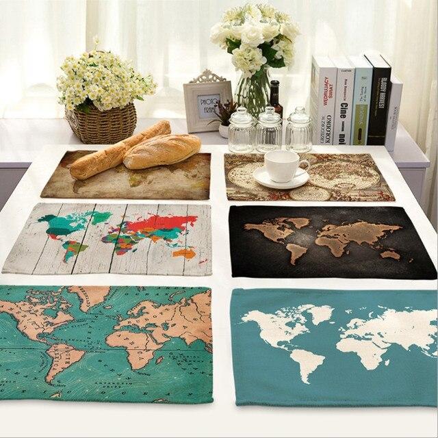 Free carte du monde coton tissu napperon maison dcor - Tapis de cuisine maison du monde ...