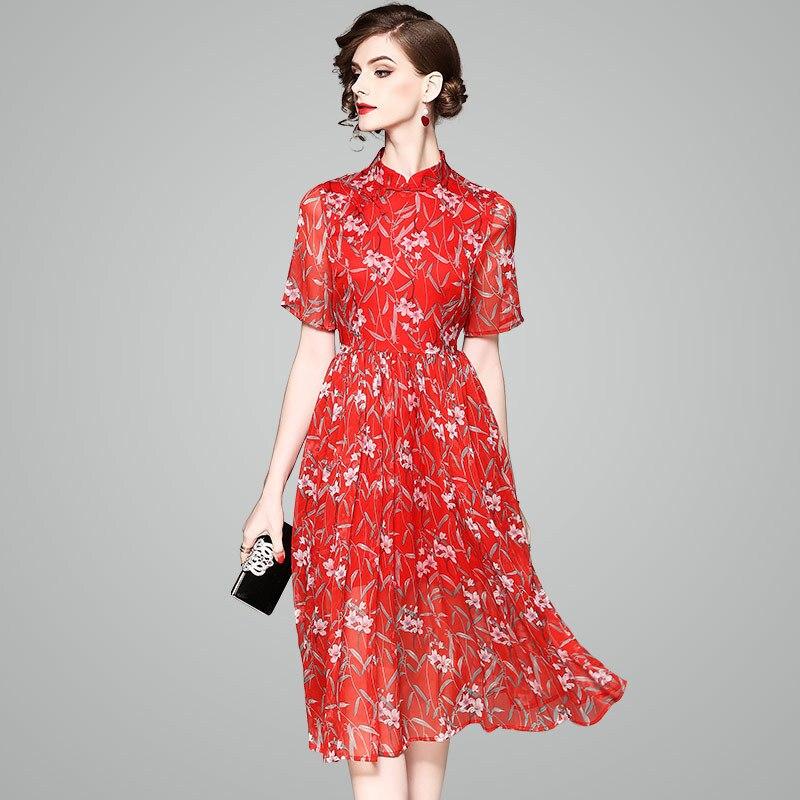 b25dd0c6f2b De 2019 Cheongsam Soie Robe Plage Long Robes Printemps Rouge Taille Été  Qipao Floral Dentelle Mince Bohème Plus Sexy Décontracté Femmes wBxtEEFqUY