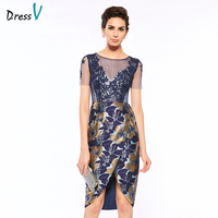 Dressv scoop neck sheath short sleeves print mother of bride dress lace knee length zipper up long mother evening gown custom