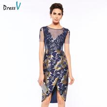 Dressv scoop neck sheath short sleeves print mother of bride dress lace knee length zipper up