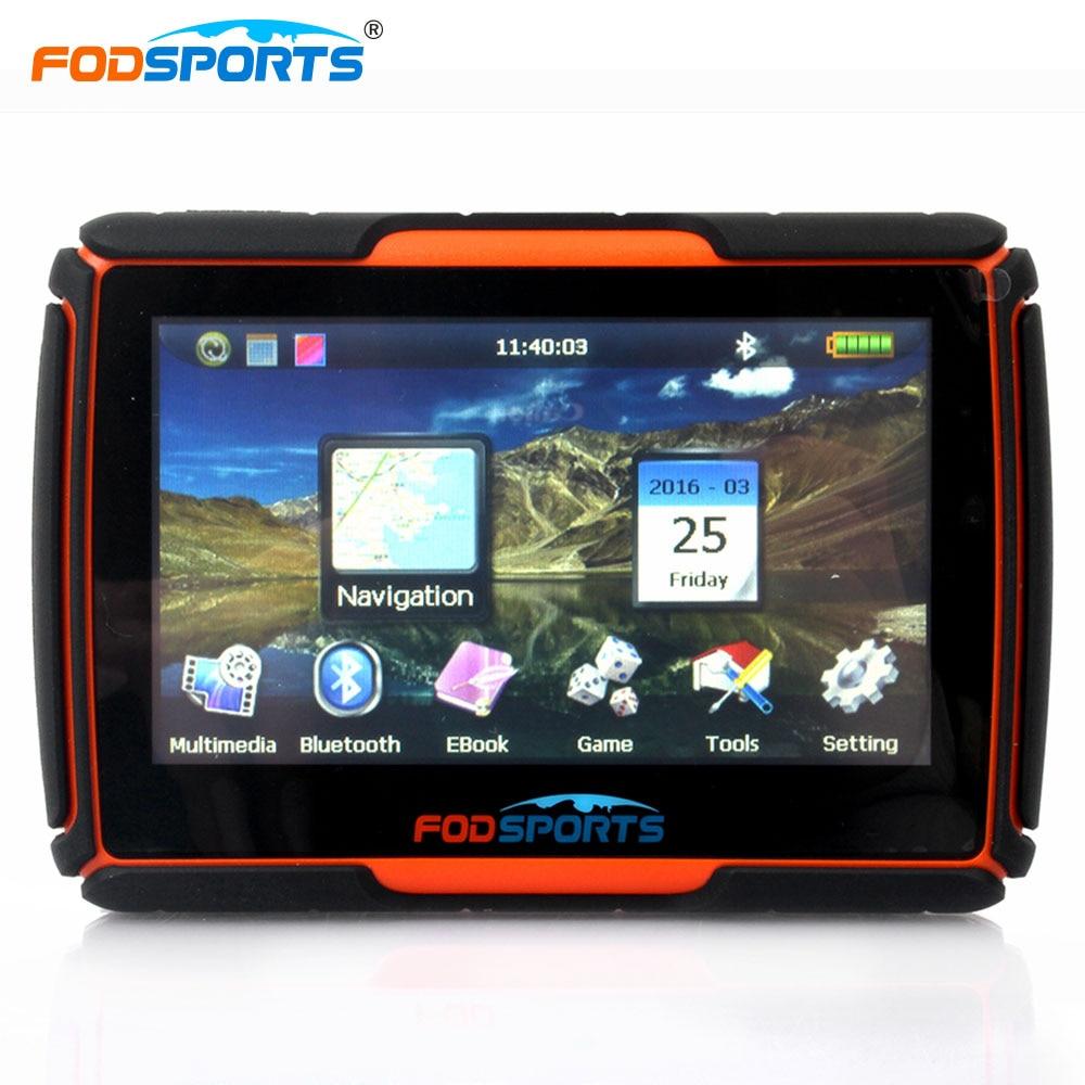 Fodsports 4.3 pouce moto navigation bluetooth moto GPS navigateur étanche 256 mb 8 gb IPX7 livraison installer des cartes