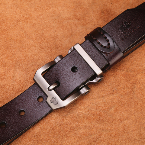BISON DENIM genuine leather belt for men gift designer jeans belts men's high quality Cowskin Personality buckle Vintage N71223 Multan