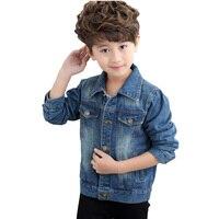 Moda dla dzieci kurtki jeansowe 2018 na co dzień chłopcy dżinsy odzież wierzchnia dla dzieci topy płaszcze jesień duży chłopcy kurtka BC331 w Kurtki i płaszcze od Matka i dzieci na