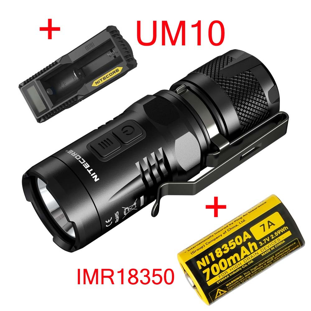 2015 Nitecore EC11 CREE XM-L2 U2 LED 900 Lumen Waterproof Rescue Search Torch+UM10 Charger +IMR18350 700MAH Battery nitecore p20 flashlight cree xm l2 u2 led max 800lm led torch for outdoor sports 3500mah 18650 battery and um10 charger
