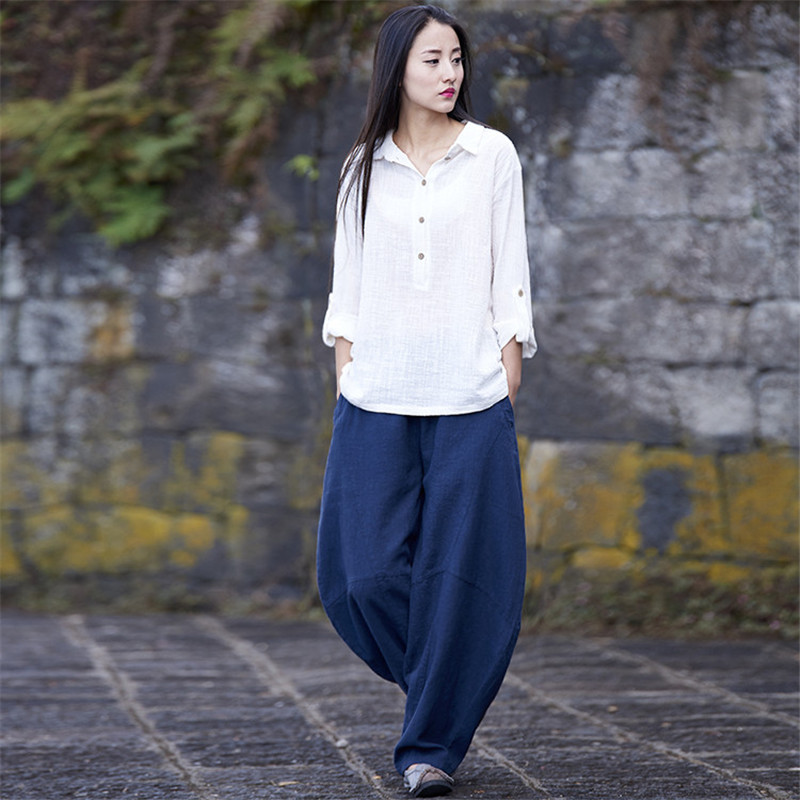 Johnature 2018 Autumn Summer New Women   Pants   Cotton Linen Full Length Chinese Stlye Solid Soft Loose   Wide     Leg     Pants