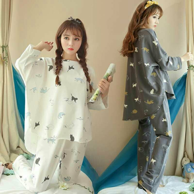 Cotton Women Sleepwear For Autumn Long Sleeve And Pants Women   Pajamas     Sets   Nightgown Casual Women Clothes
