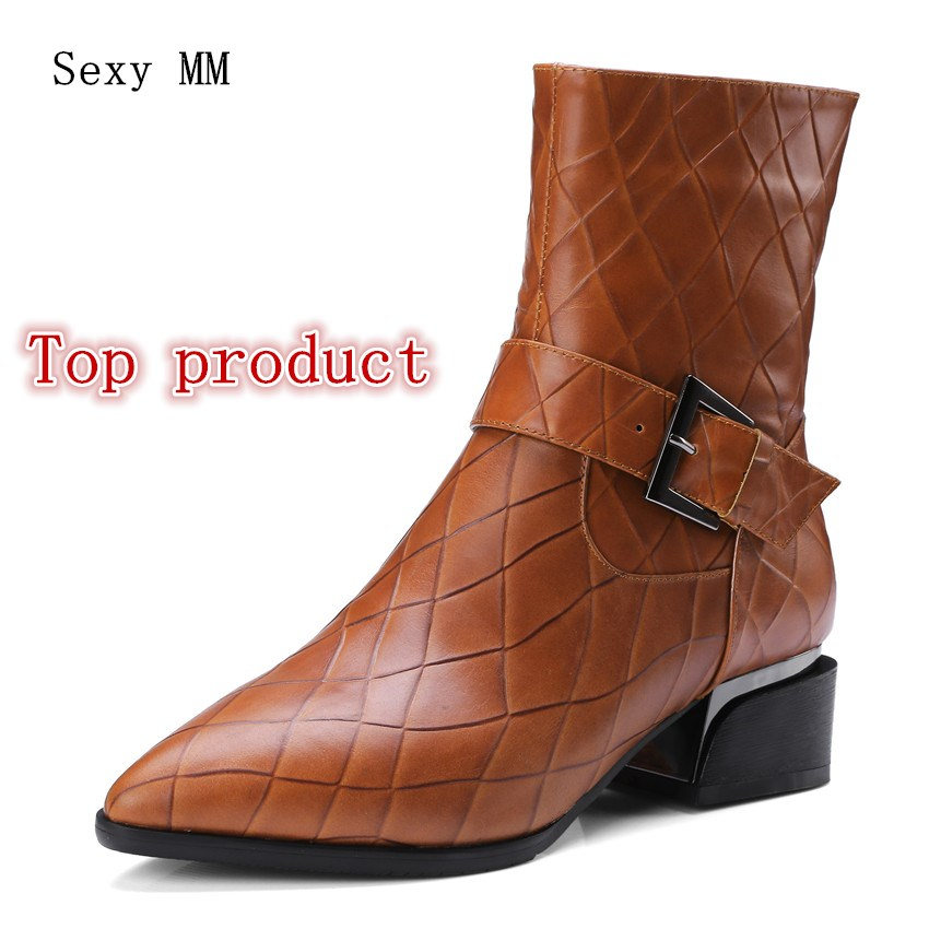 Women Ankle Boots Low High Heel Woman Short Boots Shoes Spring Autumn Genuine Leather High Quality Plus Size 34 - 40 41 42
