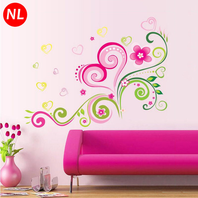 DIY Removable Decorative Pink Love Heart Flower Wall Sticker For ...