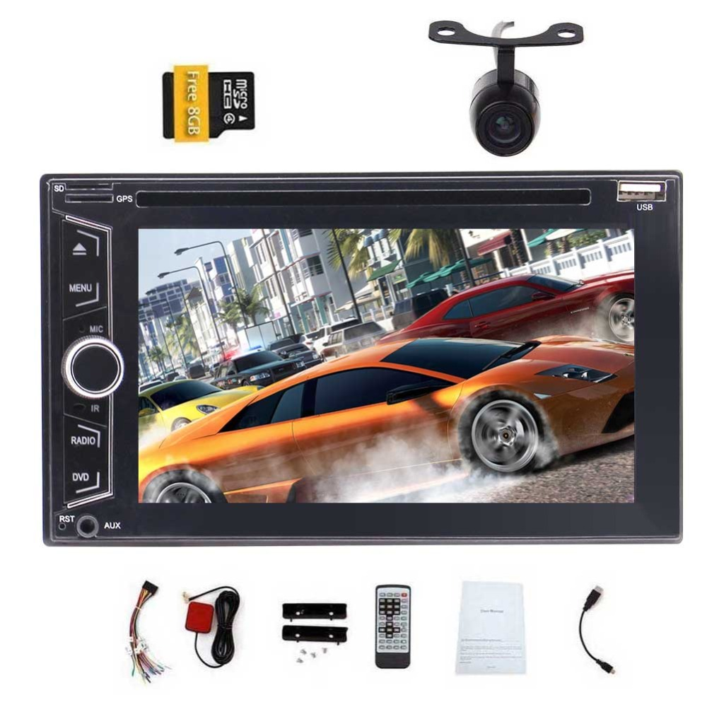 Double DIN <font><b>2DIN</b></font> <font><b>6.2</b></font> <font><b>Inch</b></font> Car Stereo DVD Player AM/FM RDS Radio HD 1080P Video WINCE OS Capacitive Touch Screen <font><b>GPS</b></font> Navigation image