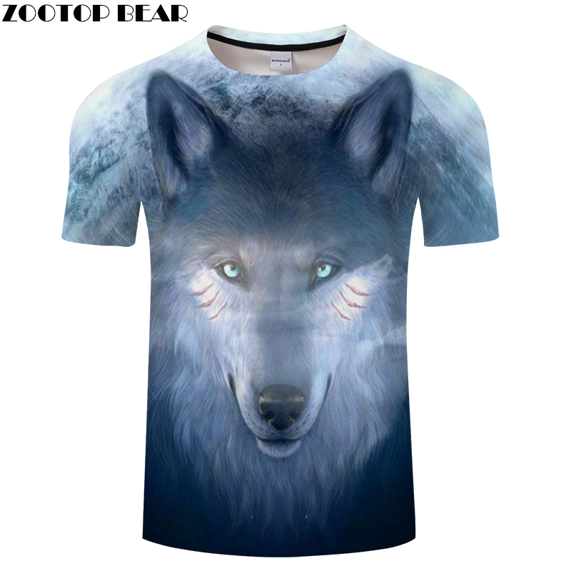 0eb5c7038048 Moon Wolf 3D tshirt Funny T shirt Men t-shirt Print Tee Brand Tops  Streatwear Camiseta Male Short Sleeve DropShip ZOOTOPBEAR