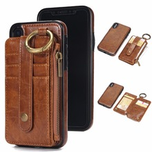 Detachable Wallet Leather Case For Iphone X 5 6 7 8 Plus With Card Slot Business Style Kickstand Functional Magnetic Cover