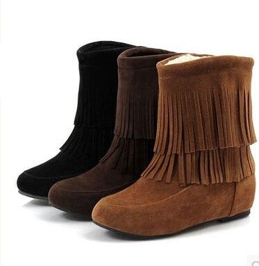 Women Faux Suede Fringe Plush Flats Boots