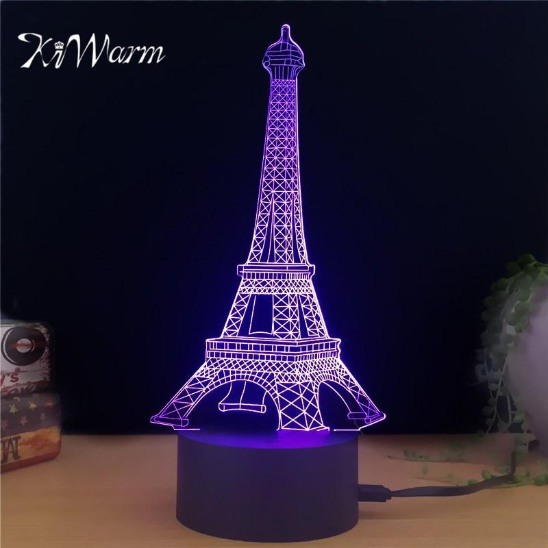 KiWarm Fashion Ei3D Eiffel <font><b>Tower</b></font> Design Novelty Light lampada USB led Table Lamp Bulbing Colorful night light Home Ornament Gift