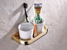 Double Cup Holder Toothbrush Holder with Ceramic Cups Luxury Gold Color Brass Rack Tumbler Holder Wall Mounted Nba846 european style double cup holder toothbrush holder with ceramic cups antique brass solid brass rack tumbler holder wall mounted