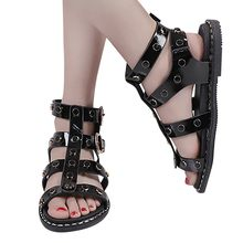 SAGACE Sandals Woman Shoes Ring Buckle Rivet Flat PU Side Buckle Low-heeled Casual Black Cool Female Sandals Women Summer Shoes(China)