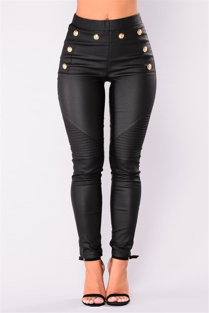 New Fashion Sexy Womens PU Leather Pants Stretchy Push Up Pencil High Waist Tight Trousers For Ladies