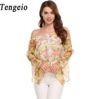Tengeio Women Summer Crop Off Shoulder Top Casual Flare Long Sleeve Floral Print Chiffon Blouse Sexy