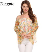 Tengeio Women Summer Crop Off Shoulder Top Casual Flare Long Sleeve Floral Print Chiffon Blouse Sexy