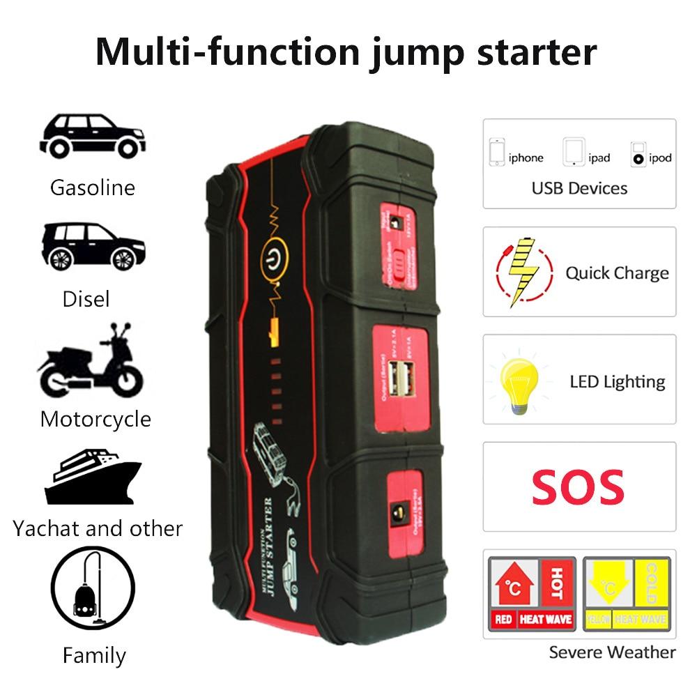 Voiture haute puissance Jump Starter 800A Pic Voiture amplificateur de batterie Chargeur pour Dispositif de Démarrage Portable batterie externe D'urgence Démarreur