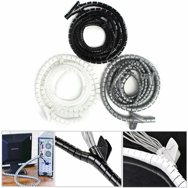 1 m 10/25mm Cáp Xoắn Ốc Bọc Gọn Gàng Dây Dây Dải Loom Lưu Trữ Organizer PC TV Công Cụ màu đen màu đen màu trắng