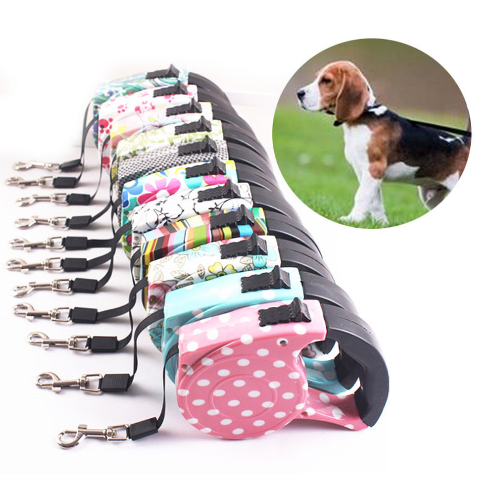 Automatic Telescopic Dog Leash 5 M Traction Rope Multi-color Blue/Pink Dot, Flower/Skull Pattern Walking Dog Chain