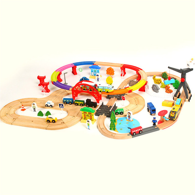 Wooden Railway Train Color Double Electric Winding Track Magnetic Train Set Puzzle Assembled Toy Compatible Brand Wood Track