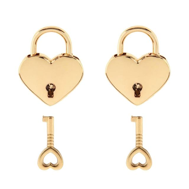 Small Heart Shaped Padlock Mini Lock with Key for Jewelry Box