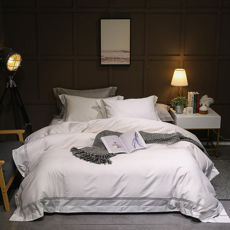 Grey White Egyptian cotton Duvet cover Bed sheet Fitted sheet Queen King size Bedding Set Bed