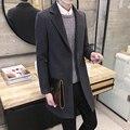 2016 nuevo otoño e invierno Coreano de los hombres de tendencias de moda casual Delgado de un solo pecho de color sólido larga sección de lana abrigo XL