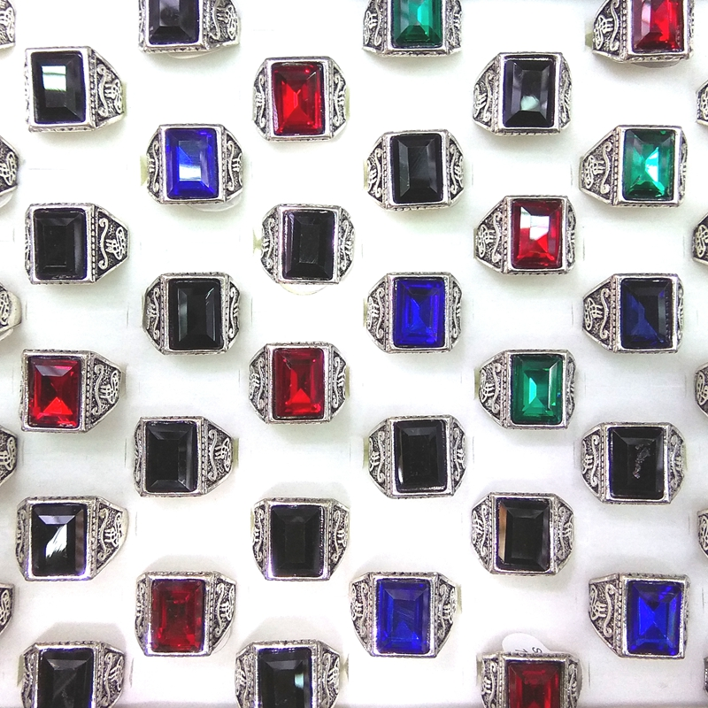 Mixed Color Faceted Crystal Costume Rings For Men Antique Silver Color 50pcs lot Wholesale