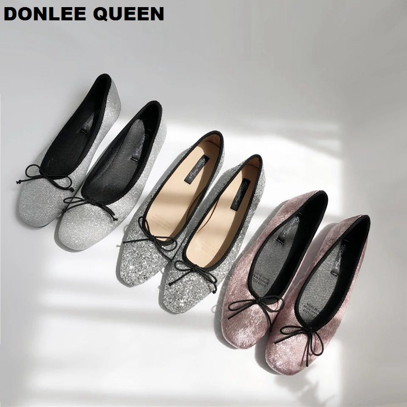Women Glitter Ballet Autumn Spring Bling Sequins Shoes Flat Round Toe Shallow Bow Ballerina Slip On Casual Loafers Soft Moccasin