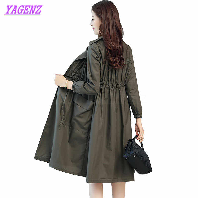جديد 2018 ربيع الخريف سترة واقية معطف المرأة الكورية فضفاض طويل معطفا الشابات الأزياء الترفيه الجيش الأخضر معطف b287