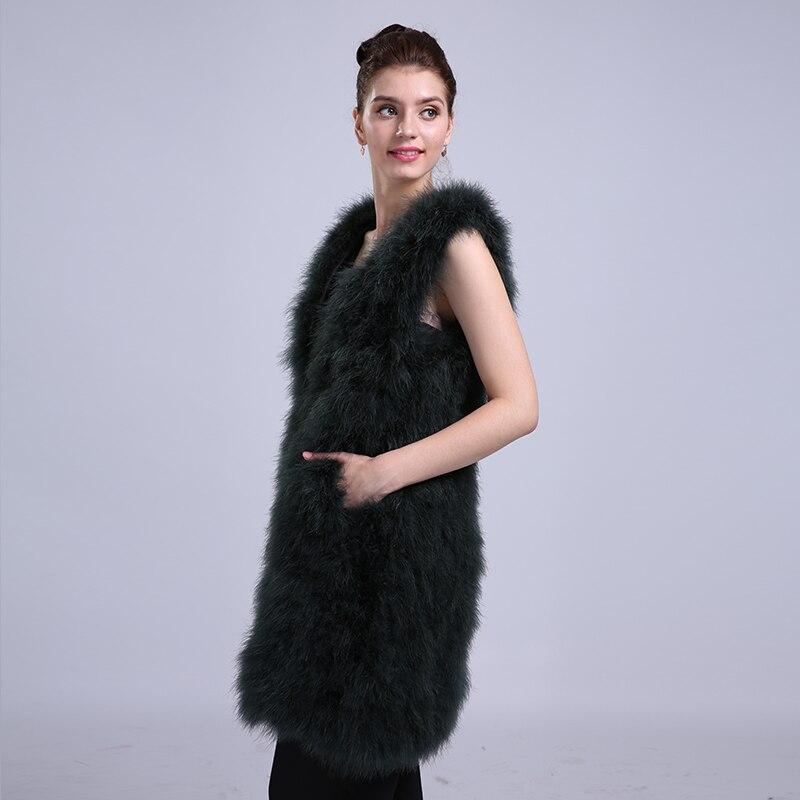90 Qualité 4xl Marque Femmes De Cm black Fourrure Longueur Taille Noir Gilet Haute Vraie Épais Sans Veste Manteau Ngsg La Grey Manches Gris Plus V004 E7q0F0