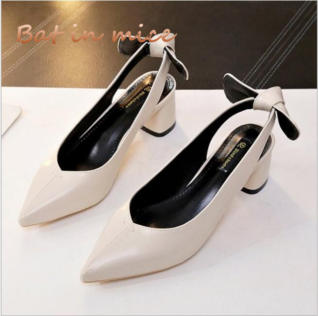 2018fashion spring autumn new women pumps pointed toe thick heel ladies Shallow mouth high heels bow-knot shoes Office shoes C39 2018 spring summer new women s pumps scrub sheepskin flowers rhinestone coarse high heel shallow mouth craft shoes