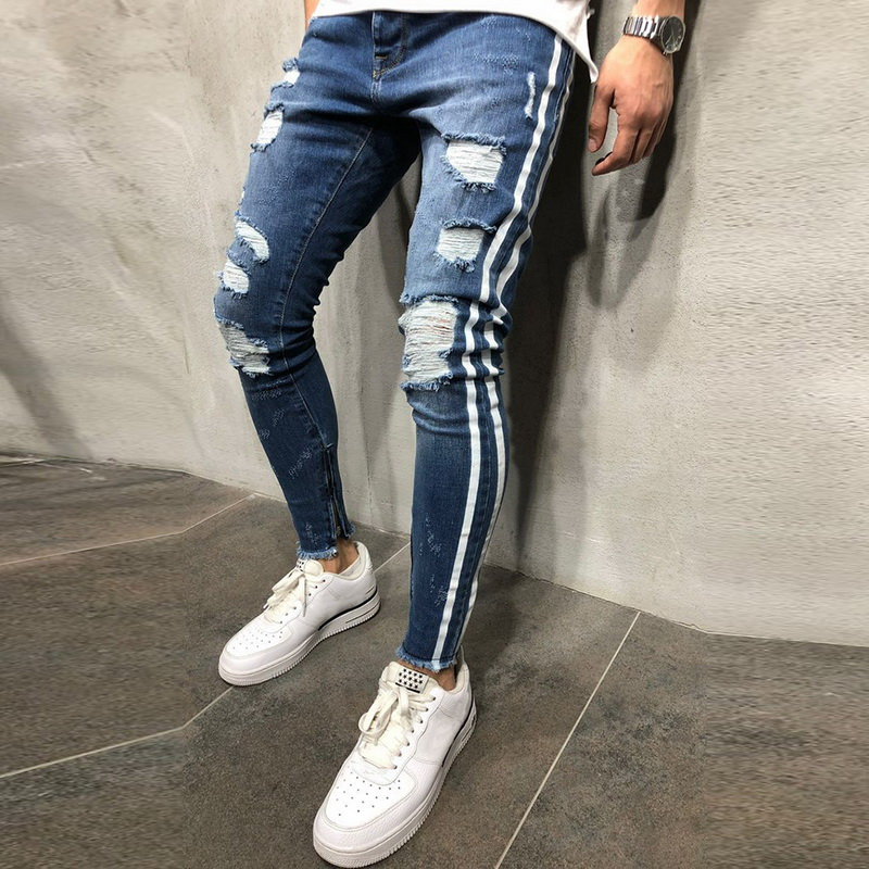 OLOME Hot Sales 2019 Ripped Side Striped Jeans Fashion Blue Streetwear Mens Skinny Stretch Jeans Pants Casual Denim Jeans Hombre