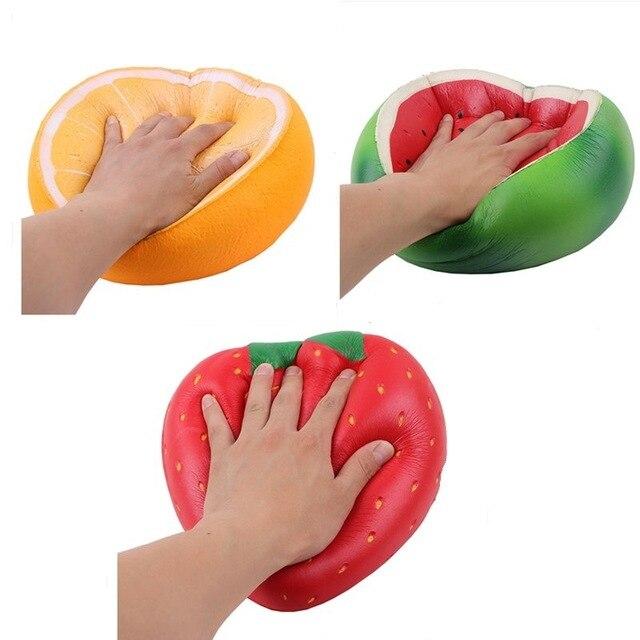Gigante sandía blanda fresa naranja juguete suave aumento lento estrés alivio exprimidor Hobbies regalos juguetes para niños regalo