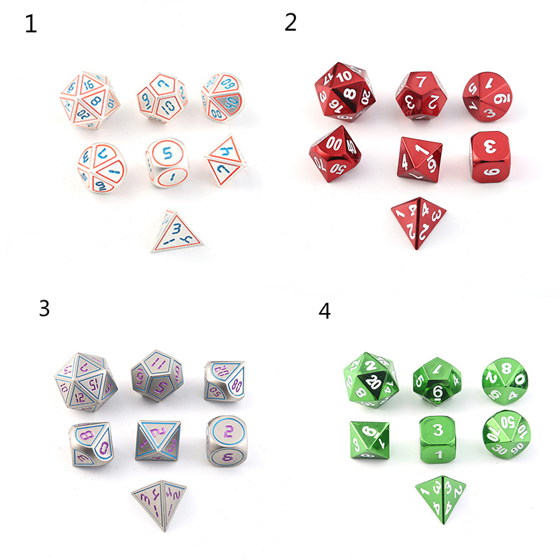 7PCS/Set Table Games Entertainment Supplies Metal Dice D4 D6 D8 D10 D10 D12 D20 Drinking Gambling Dungeons & Dragons Gaming Dice