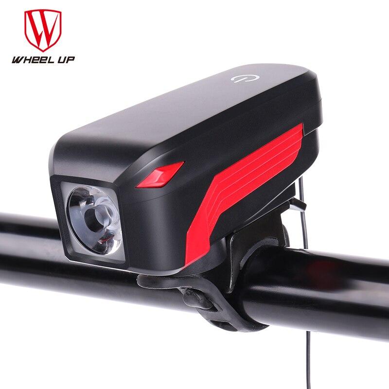 Колеса до велосипед фары с рог USB Перезаряжаемые IPX5 2000 мАч светодиодный светильник 140 дБ 350 люмен Велоспорт фар фонарик