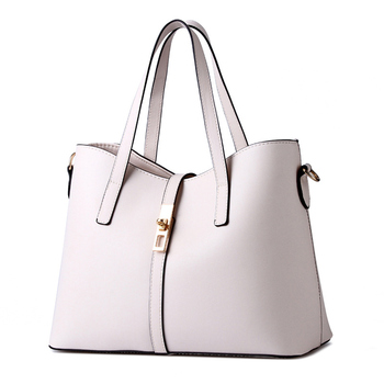 Cusual High Quality PU Beige Women Handbag Office Lady Shoulder Bag Lock Zipper Crossbody Messenger