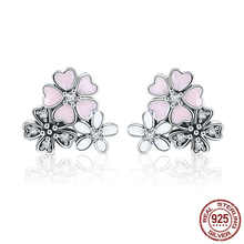 Hot Sale 925 Sterling Silver Poetic Cherry Blooms Flowers Stud Earrings for Women Fashion Original Silver Jewelry CQE400 цена