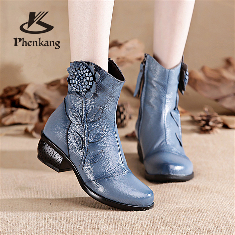 Women winter boots woman ankle boots genuine leather handmade zipper thick fur boots casual mom soft
