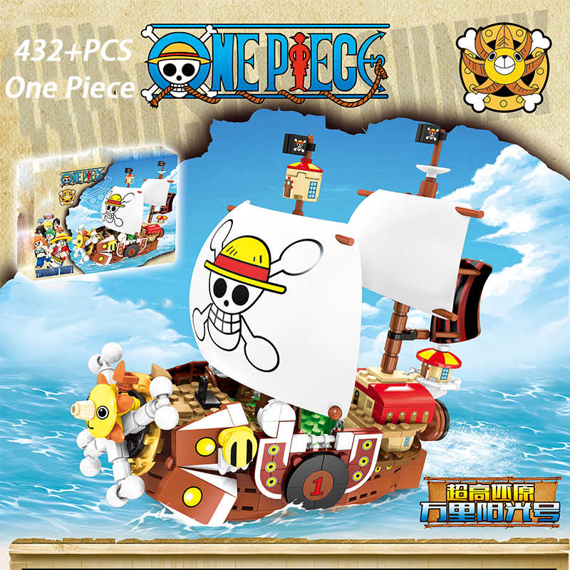 432pcs+ Sunny Pirate Ship Monkey D Luffy One Piece Building Blocks Educational children Toys Compatible with  6299