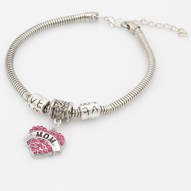Vintage Pink Heart Crystal Rhinestone Carved Words Family Bangles Bracelets For Mom Sister Daughter Jewelry Christams