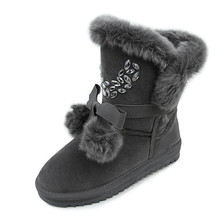 BAOBU Women's Sneakers woman snow boots 2017 Winter high top plush with hair bulb cotton shoes girl outdoor walking shoes